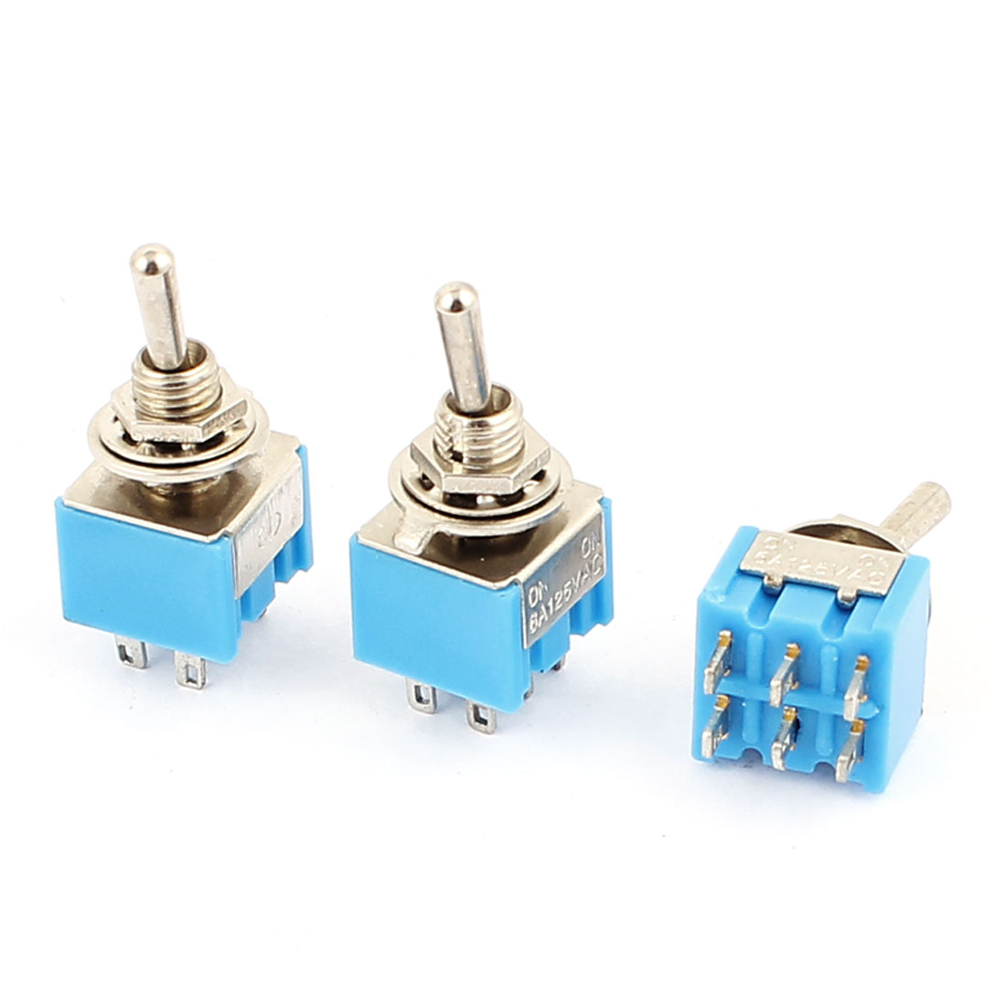 AC 125V 6A DPDT ON-ON 2 Positions 6-pin Latching Miniature Toggle Switch 3 Pcs
