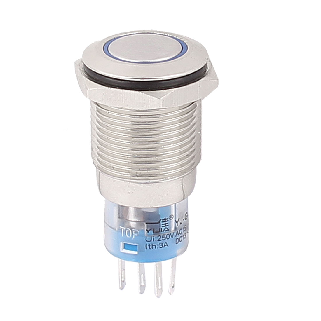 AC 250V 3A 16mm Thread SPDT Momentary Blue Light Push Button Switch