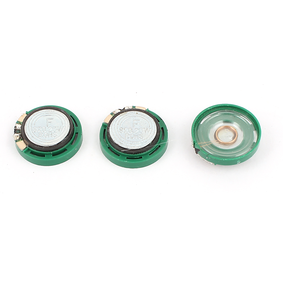 3 Pcs 0.25W 8 Ohm 21mm Dia Green Magnet Speaker Loudspeaker Horn