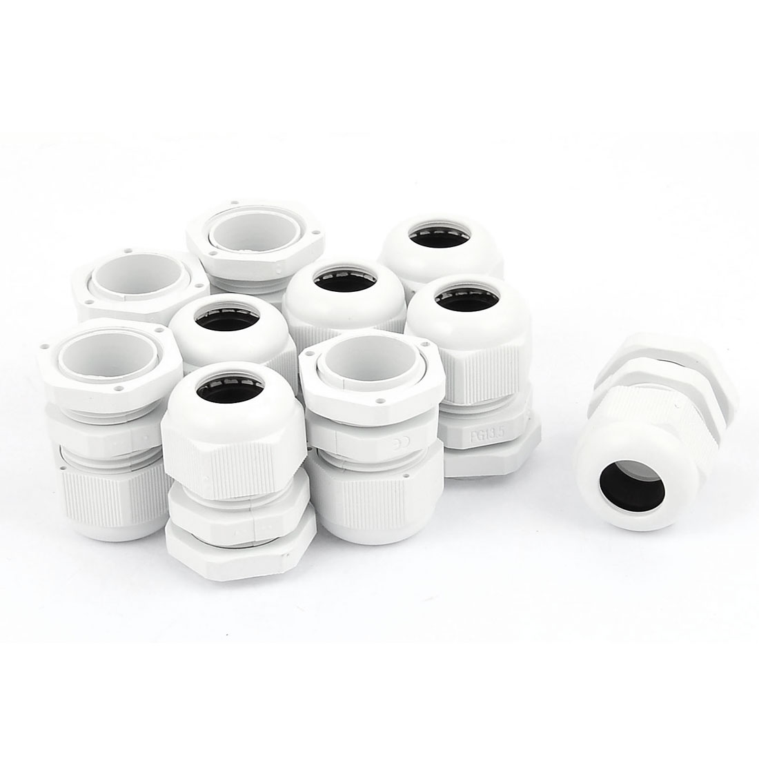 PG-13.5 White Plastic Waterproof Connectors Cable Glands 10 Pcs