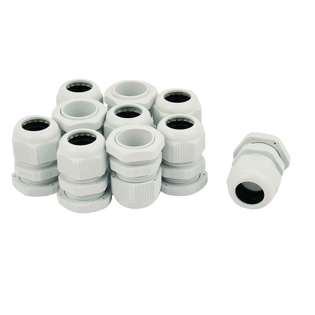 PG-19 White Plastic Waterproof Connectors Cable Glands 10 Pcs