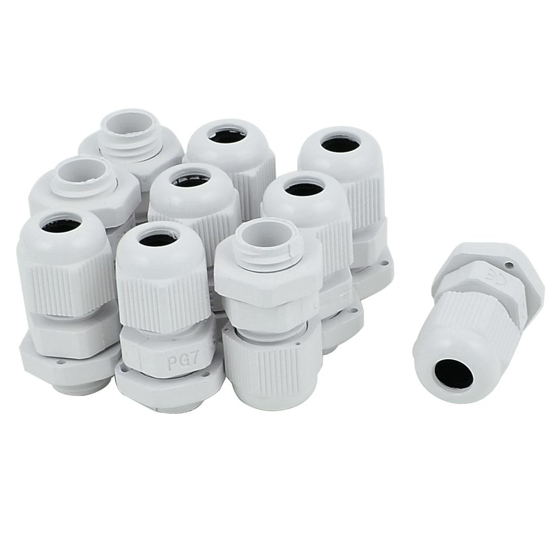 PG-7 White Plastic Waterproof Connectors Cable Glands 10 Pcs