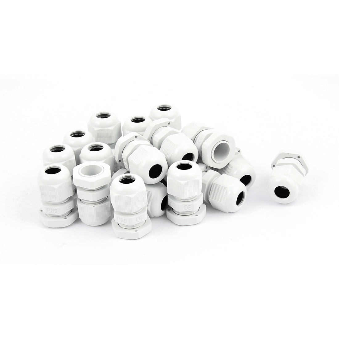 PG-9 White Plastic Waterproof Connectors Cable Glands 20 Pcs