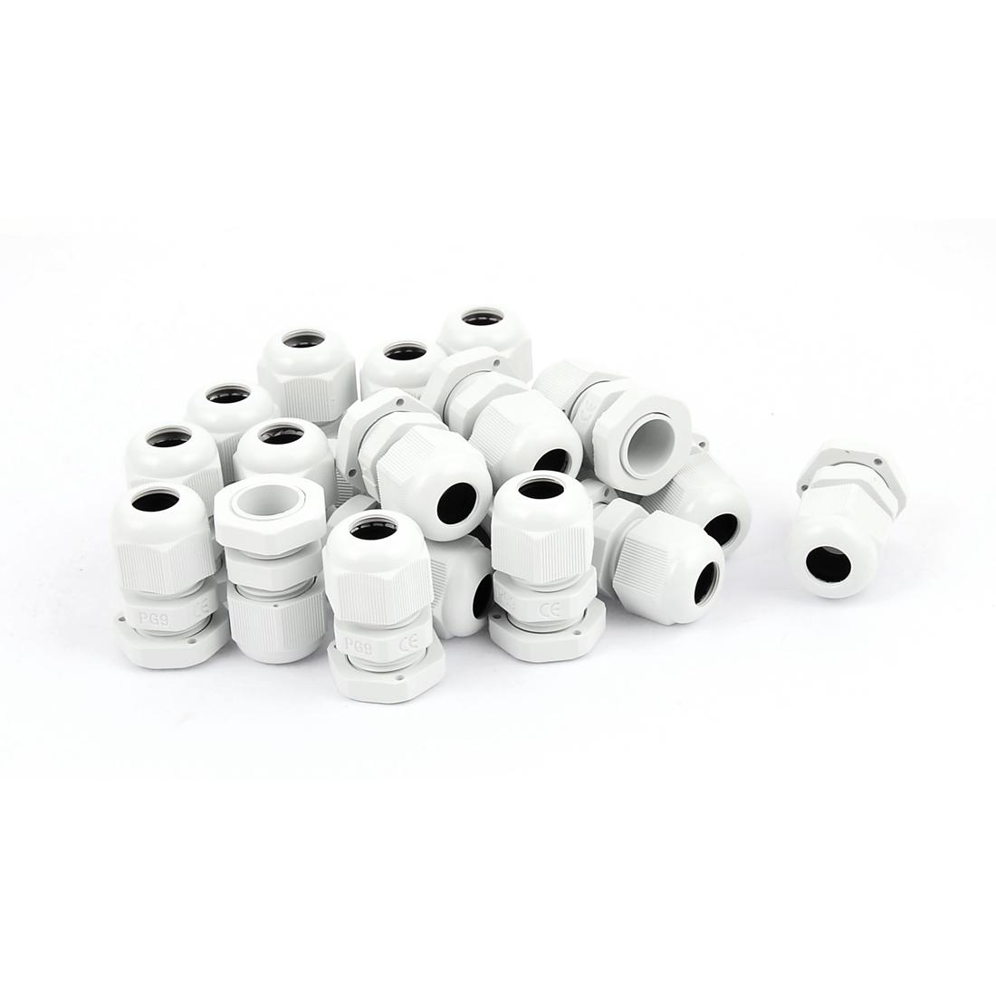 PG-9 White Plastic Waterproof Connectors Cable Glands 20 Pcs