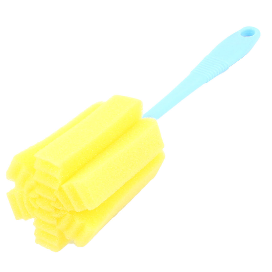 Yellow Sponge 360 Degree Swivel Glass Bottle Tube Cup Cleaning Washing Brush 24.5cm Length