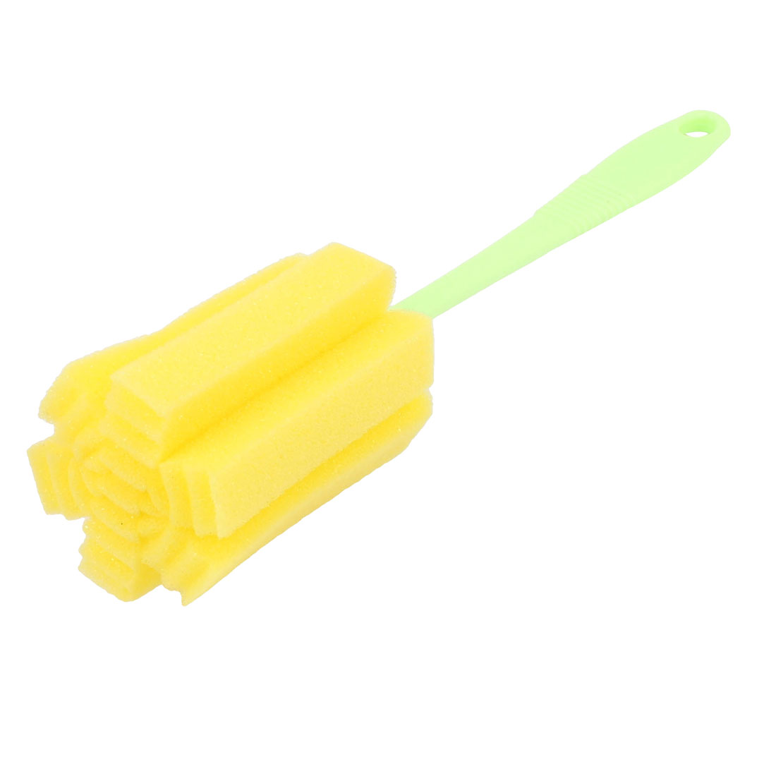 Yellow Green Plastic Grip Cylinder Sponge Milk Bottle Tube Cup Cleaning Washing Brush 24.5cm Length