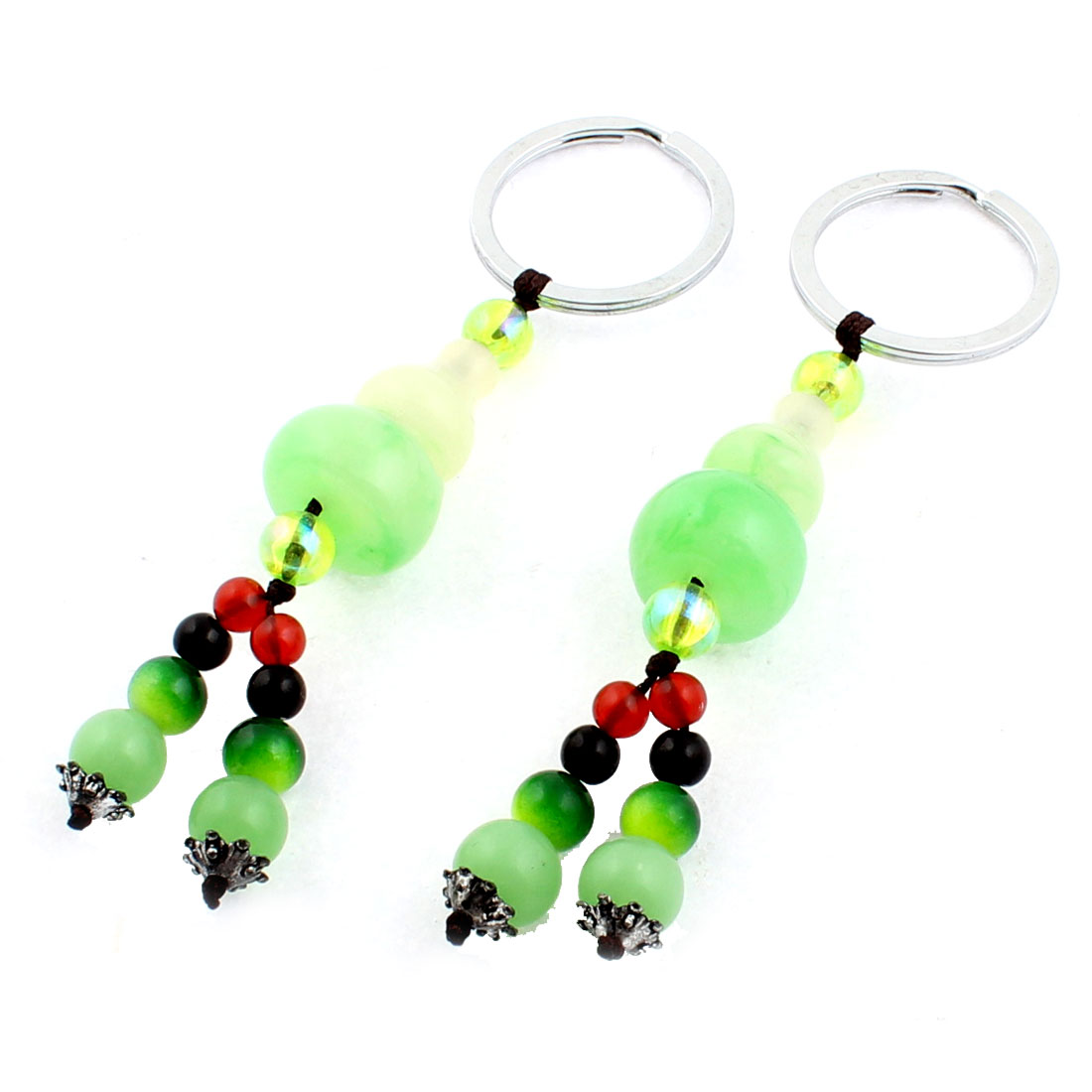 Faux Jade Calabash Pendant Split Ring Keychain Keyring Key Holder Green 2pcs