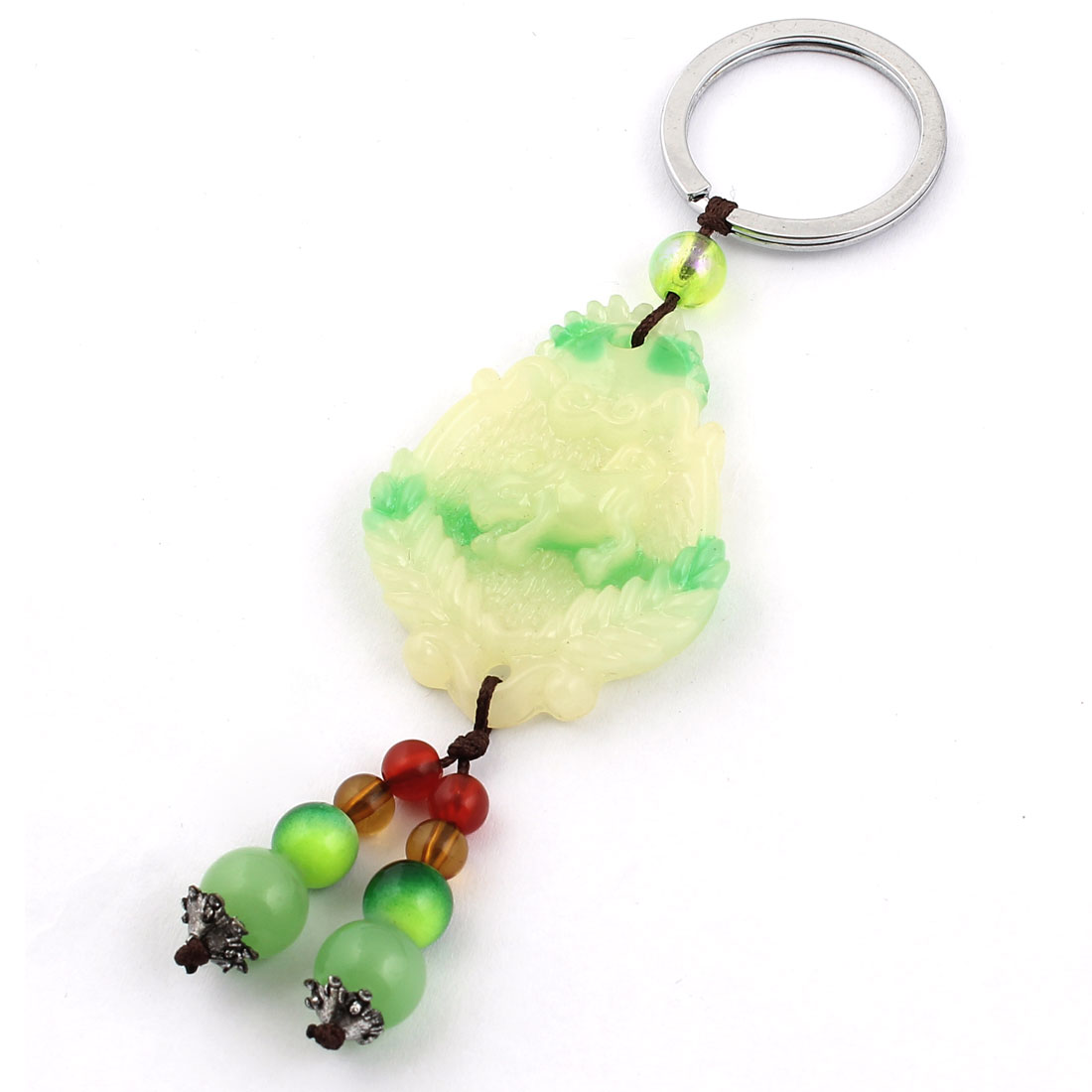 Animal Carved Faux Jade Pendant Split Ring Keychain Keyring Key Holder Green