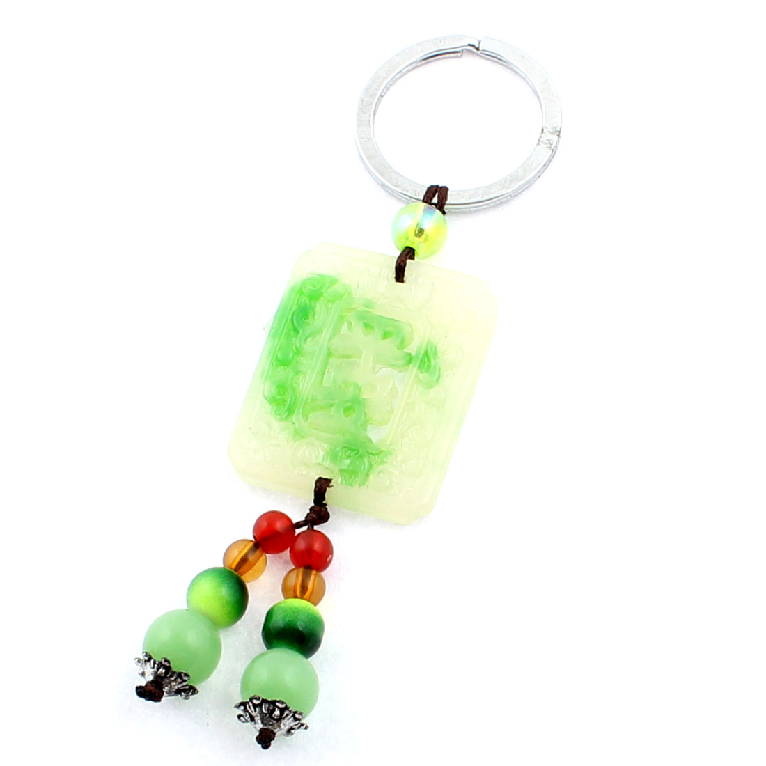 Faux Jade Rectangle Shaped Pendant Split Ring Keychain Keyring Key Holder Green