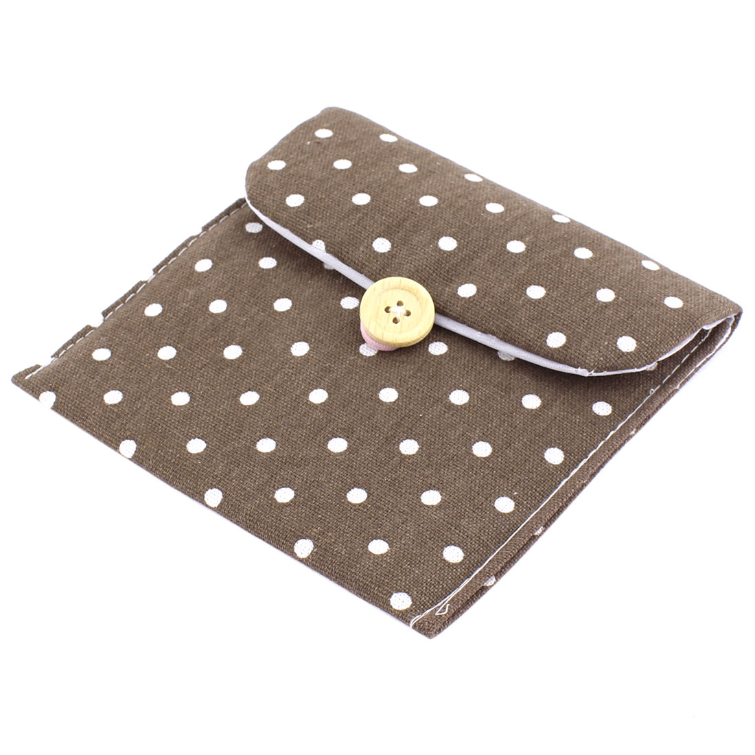 Girl Button Closure Dots Pattern Storage Bag Holder Container 13 x 12cm