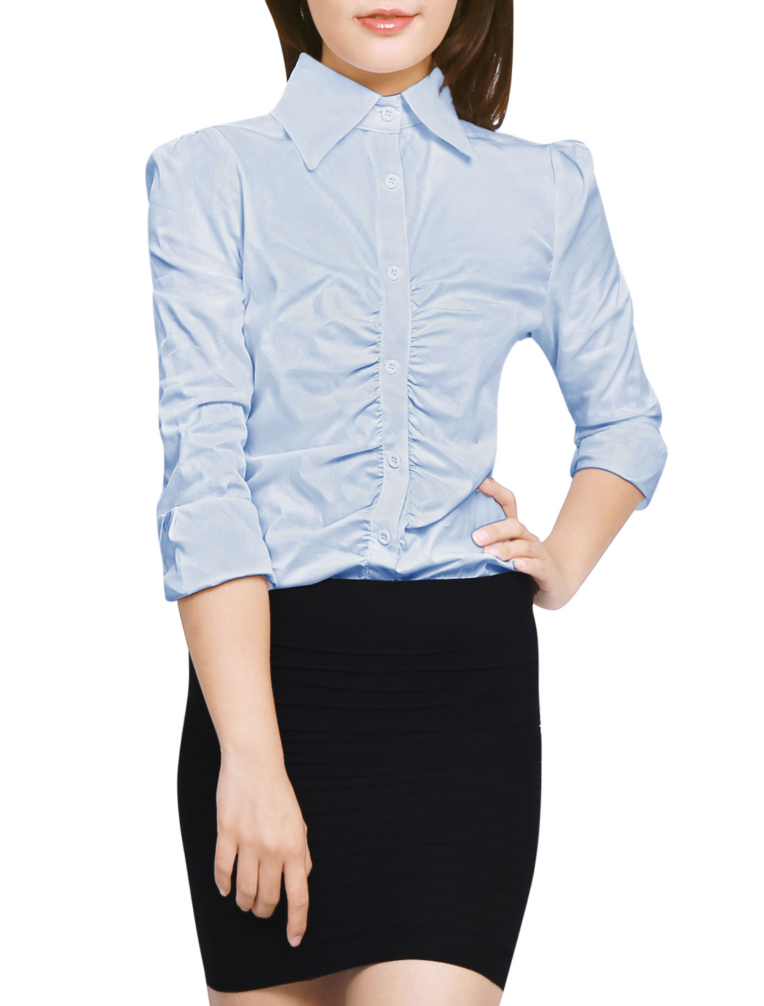 Ladies Single Breasted Long Sleeves Ruched Front Shirt Blue L