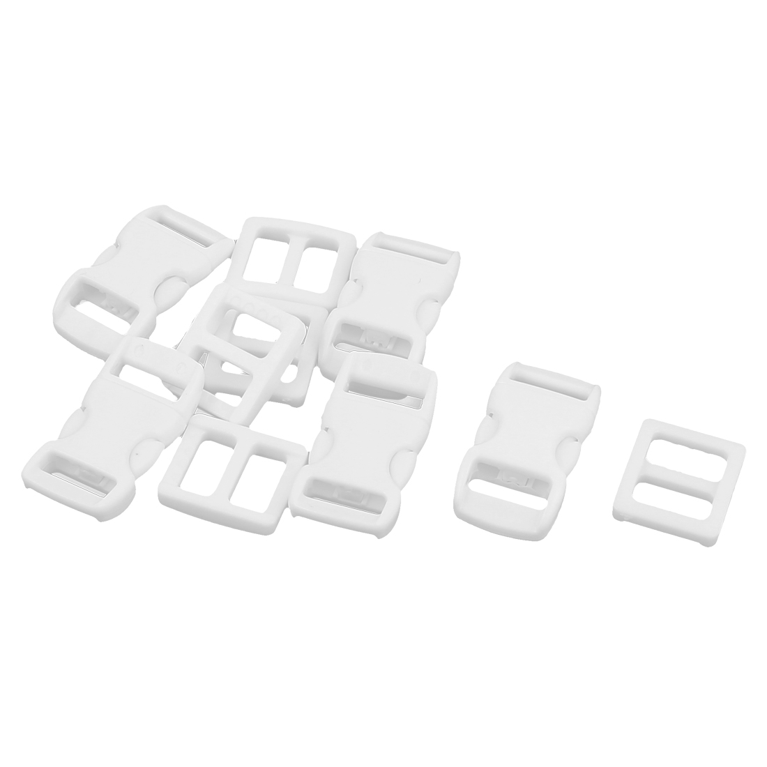 White Plastic Packbag Side Quick Release Clasp Buckles 10-11mm Webbing Strap Band 5pcs
