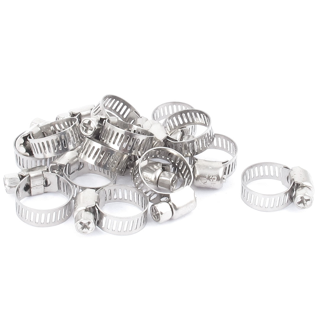16pcs 8mm Wide Adjustable 9mm-16mm Worm Drive Hose Pipe Tight Fastener Clamp Clip Hoop