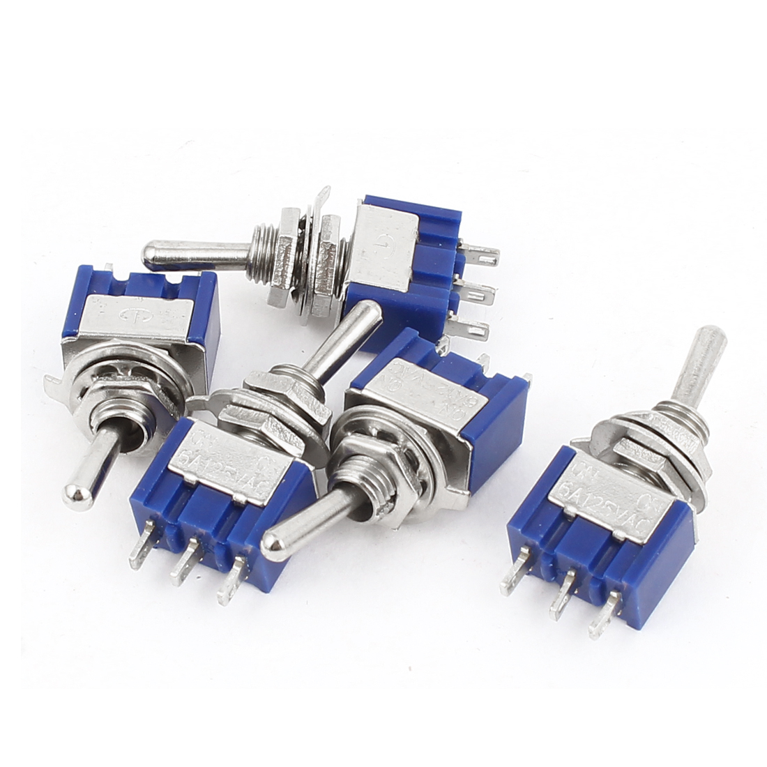 AC 125V 6A SPDT ON-ON 2 Positions 3 Terminals Latching Mini Toggle Switches 5pcs