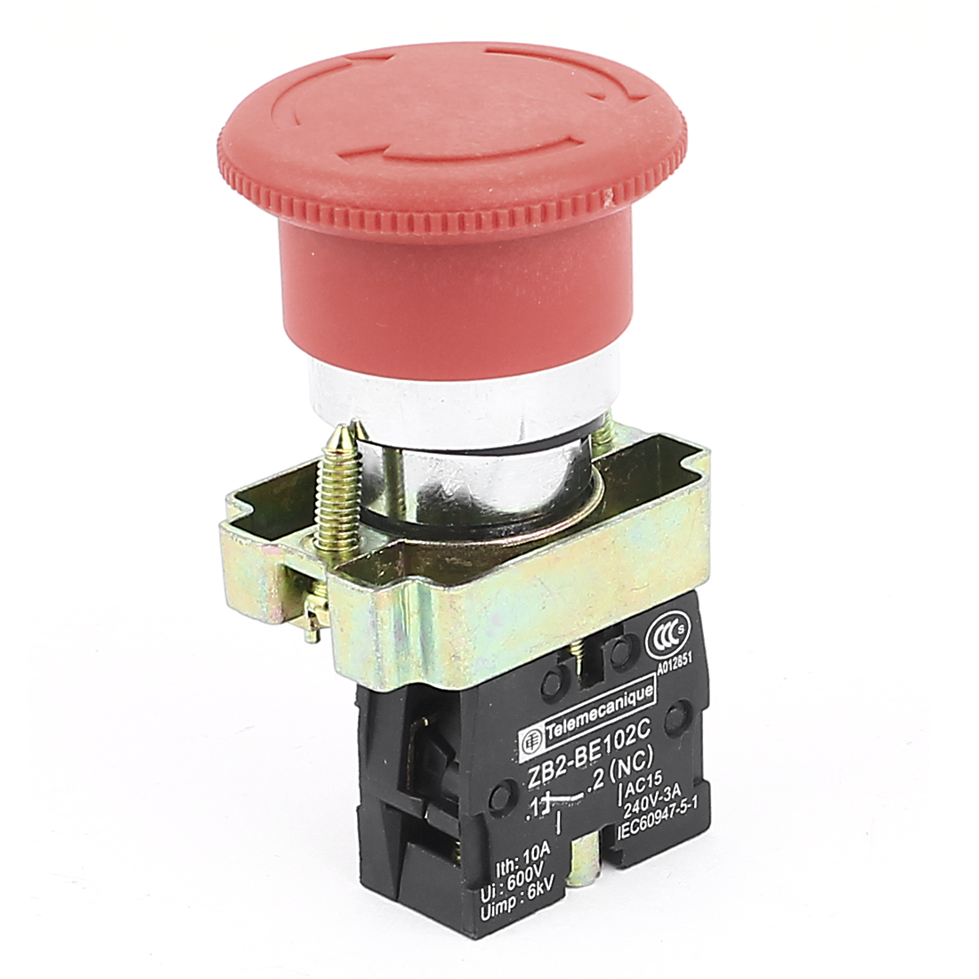AC 600V 10A SPST Latching Panel Mounting Red Sign Mushroom Cap Emergency Stop Push Button Switch