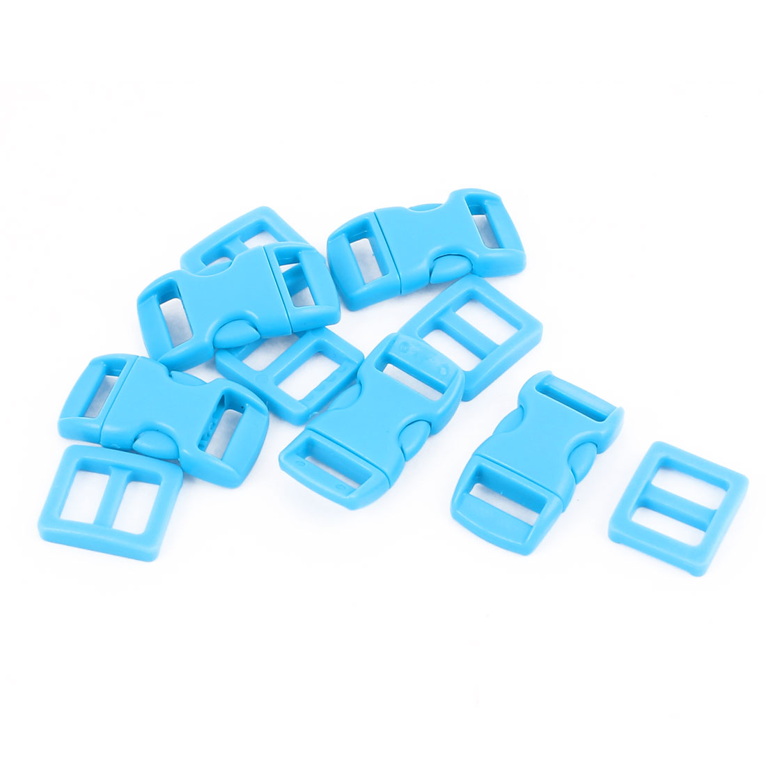 Blue Plastic Packbag Backpack Side Quick Release Buckles 10-11mm Webbing Strap Clasp 5pcs
