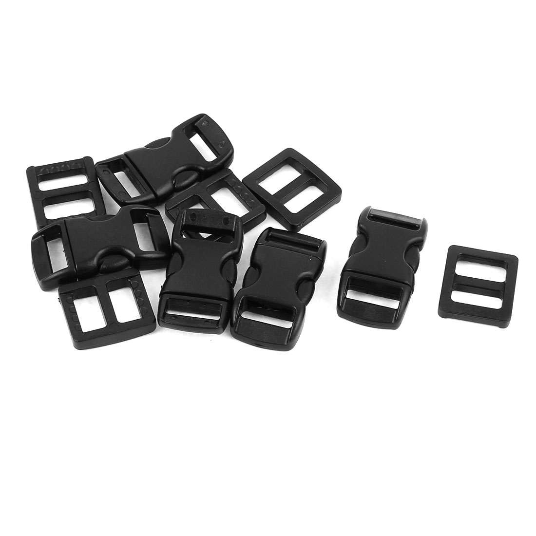 5pcs Black Plastic Packbag Side Quick Release Clasp Buckles for 10-11mm Webbing Strap