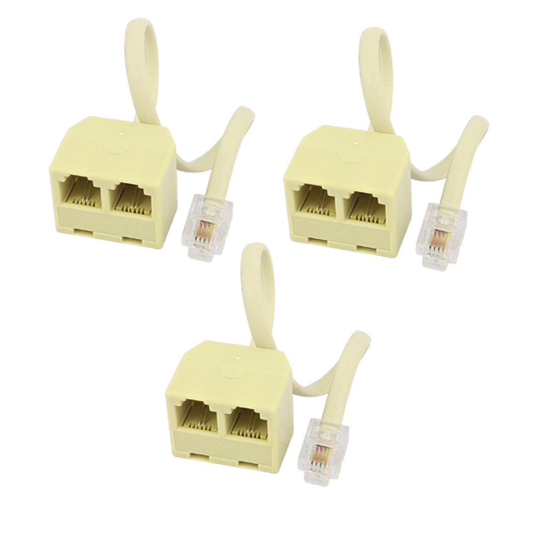 6P4C Male to Dual Female M/F Socket Extension Cable Telephone Splitter Coupler Adapter 3pcs
