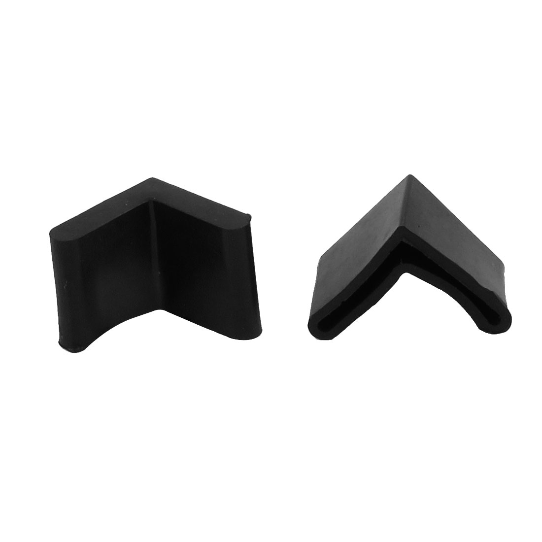 2pcs 29mmx29mm Black Rubber L Shaped Furniture Chair Table Leg Tip Recessed Feet Pad