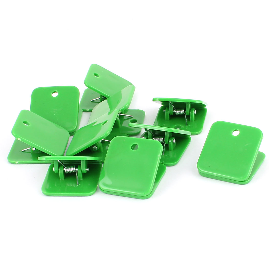Green Plastic Square Spring Loaded Paper Document Memo Note Stationery Binder Clip 10pcs