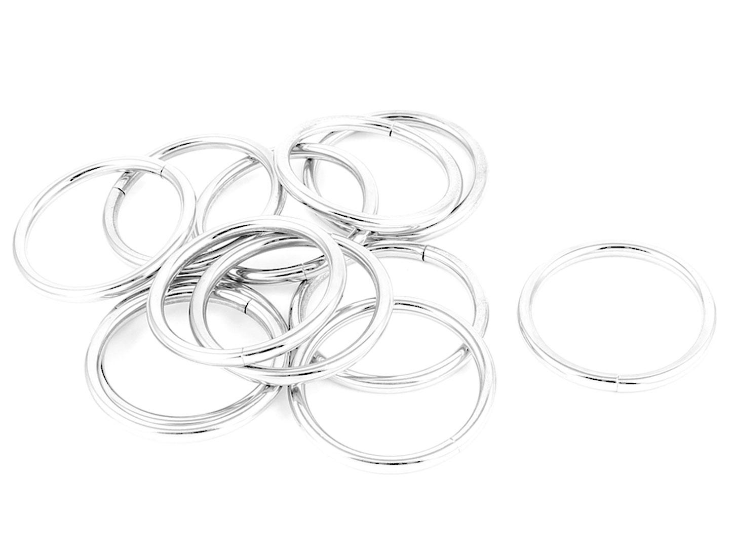 12pcs 3.8cm Inner Dia Silver Tone Metal Handbag Bag Link Belt O Ring Loop Buckle