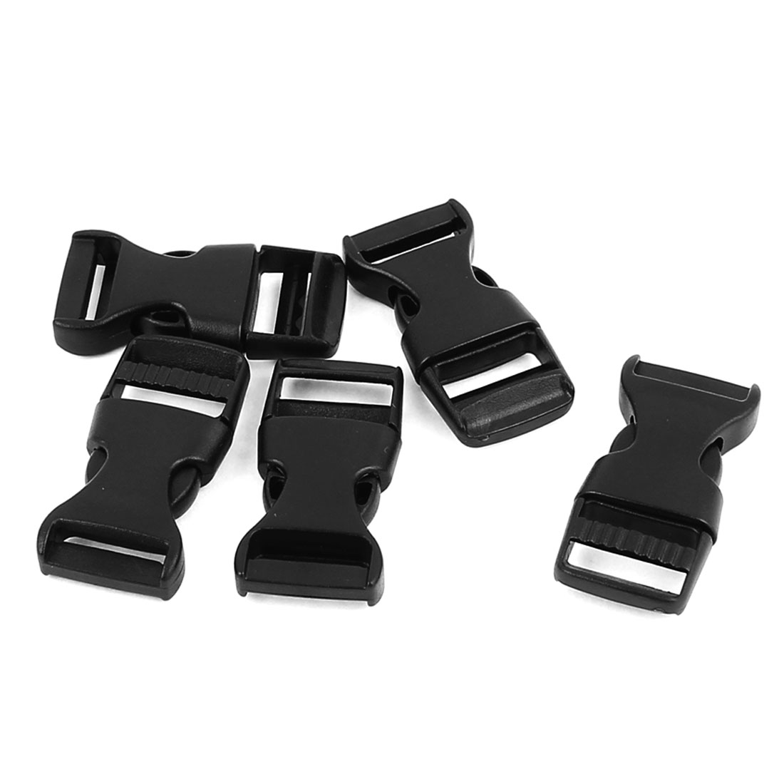 5pcs Black Plastic Pack Bag Side Quick Release Clasp Buckles for 15mm Webbing Strap Band
