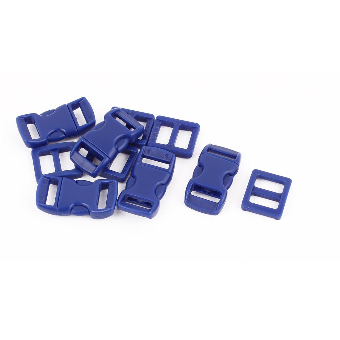 5pcs Dark Blue Plastic Packbag Side Quick Release Clasp Buckles for 10-11mm Webbing Strap