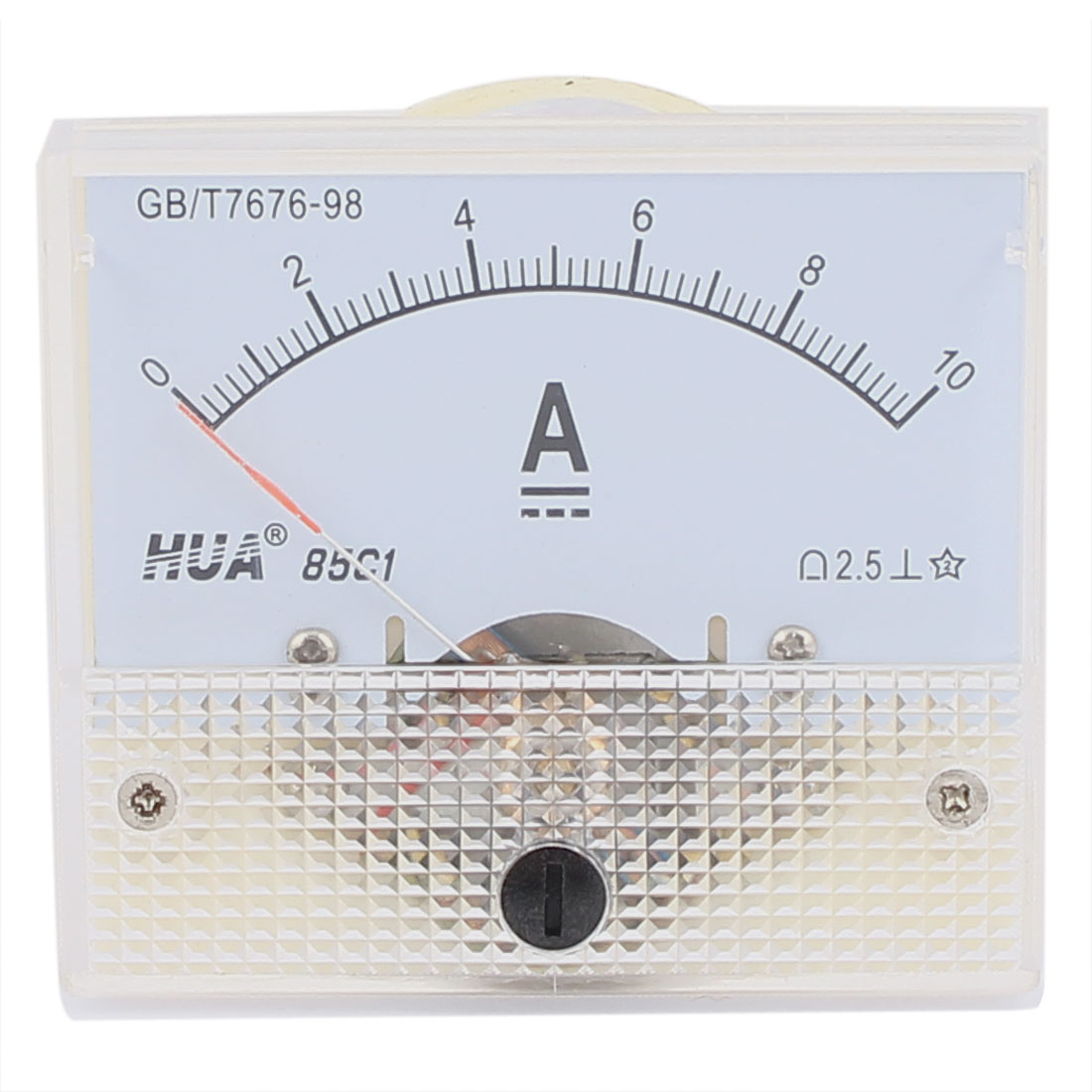 85C1 AC 0-10A 2.5 Class Plastic Rectangle Panel Ammeter Gauge Analog Current Amperemeter