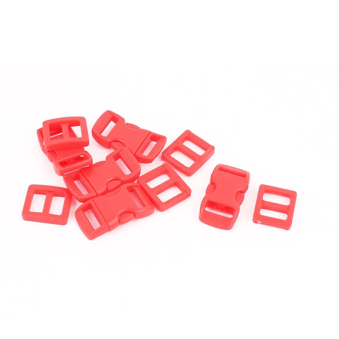 Belt Connecting Plastic Side Quick Release Clasp Buckles 10-11mm Webbing Strap Band Red 5pcs