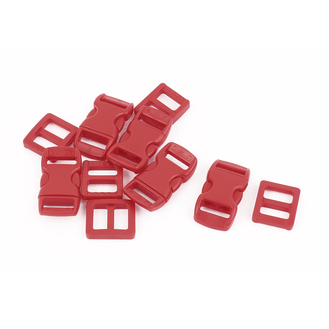 Dark Red Plastic Backpack Side Quick Release Clasp Buckles 10-11mm Webbing Strap Band 5pcs