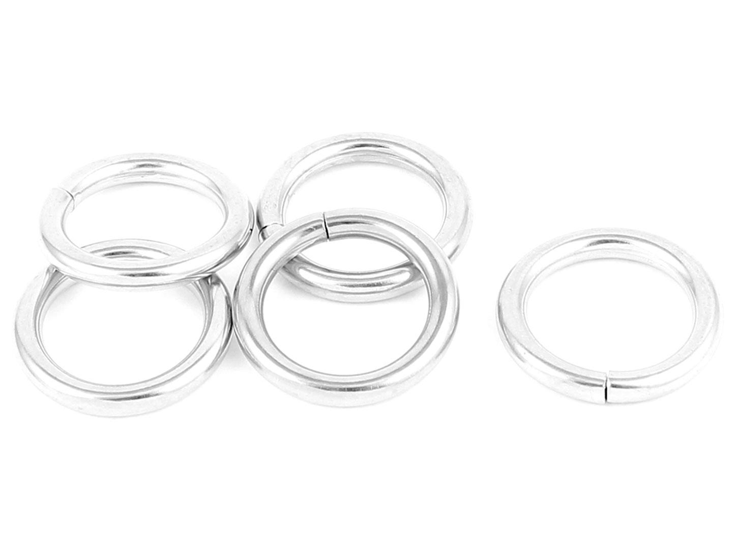 5pcs 2cm Inner Dia Silver Tone Metal Handbag Backpack Link Belt O Ring Decor Buckle