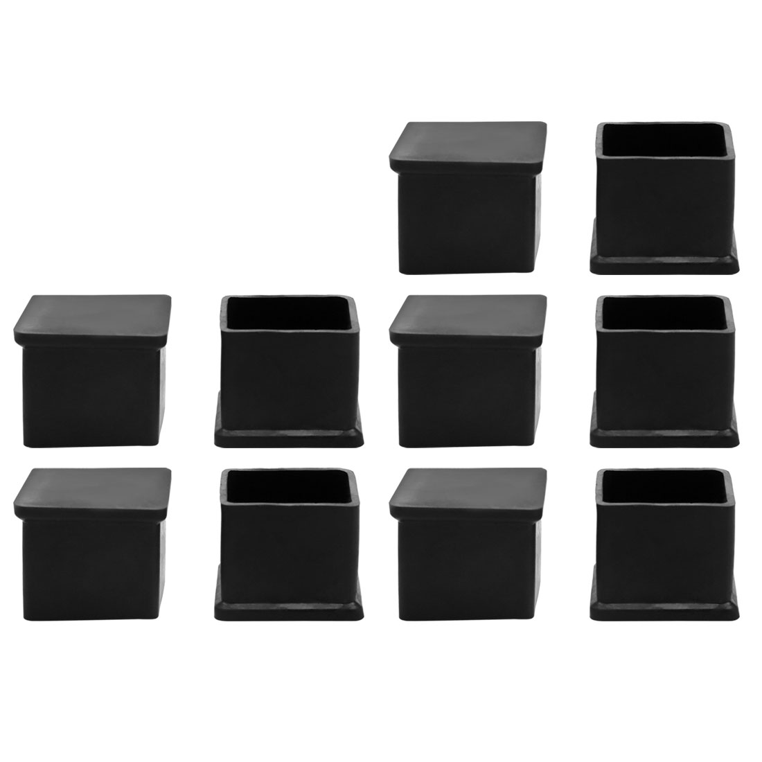 10pcs Rubber Square Shape Furniture Table Chair Foot Leg Cap Protective Tip Pad Cover