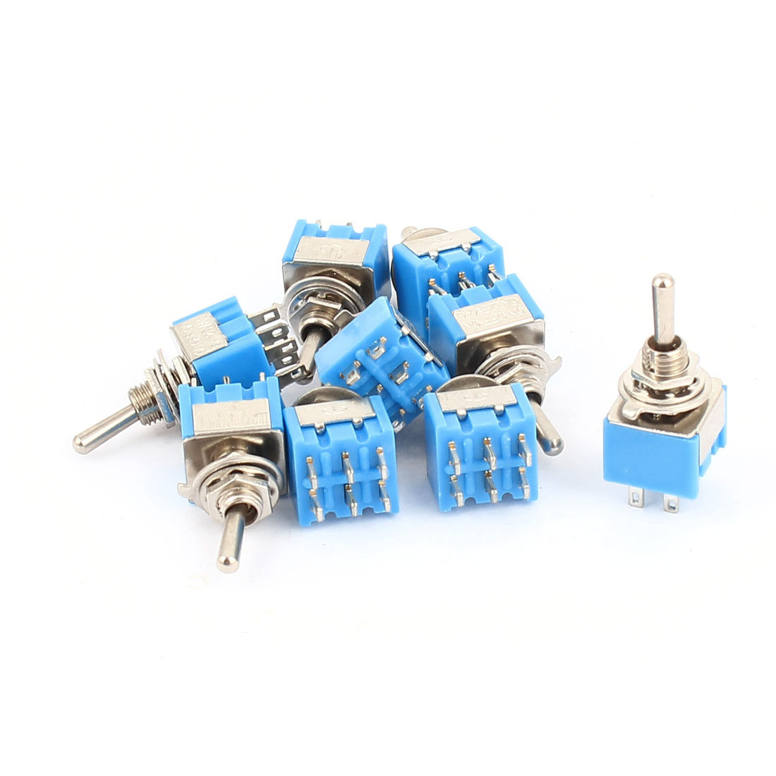 10pcs AC 125V 6A 6 Terminals 3 Positions ON-OFF-ON 6mm Threaded DPDT Latching Mini Toggle Switch