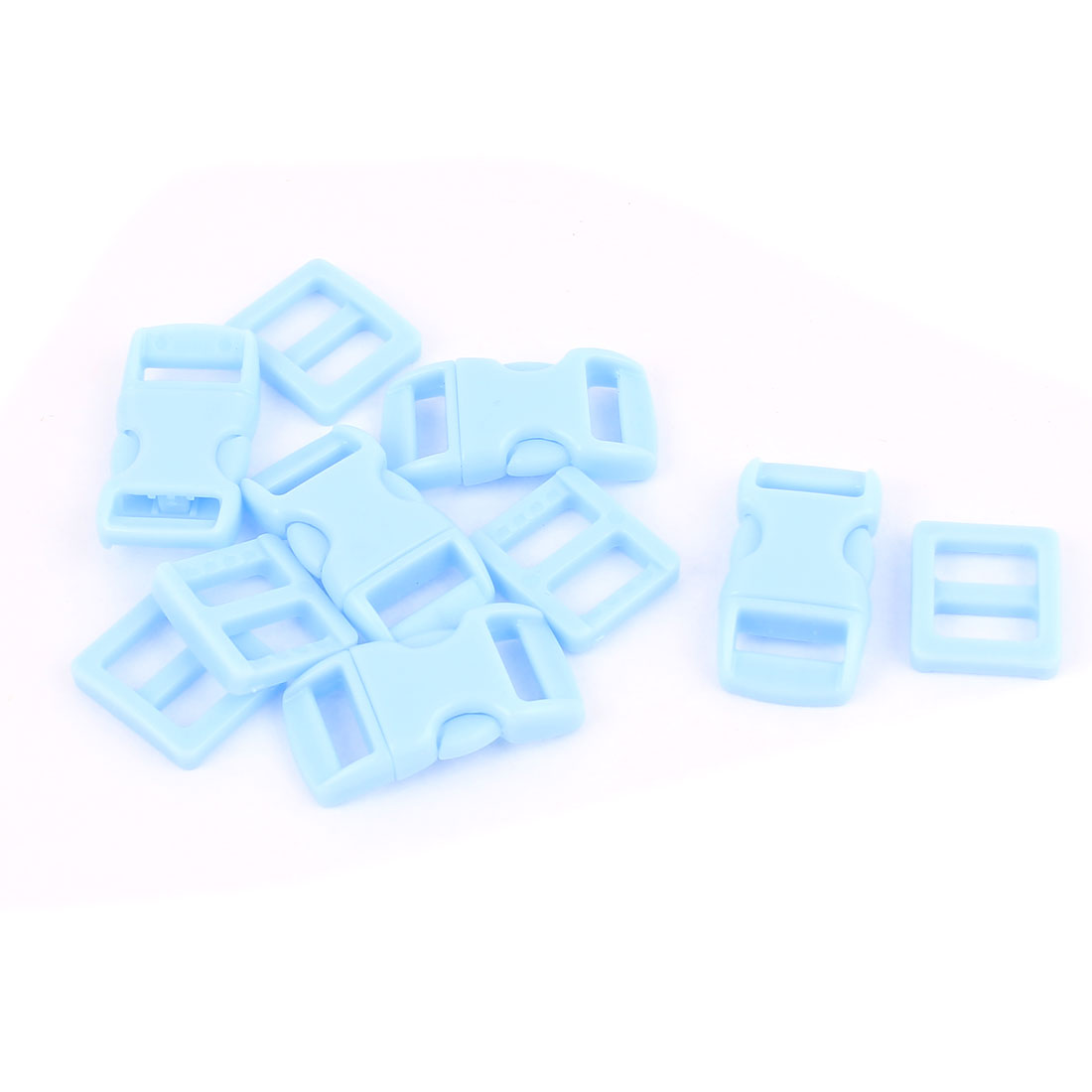 5pcs Sky Blue 10-11mm Webbing Strap Plastic Curved Clasp Side Quick Release Buckles