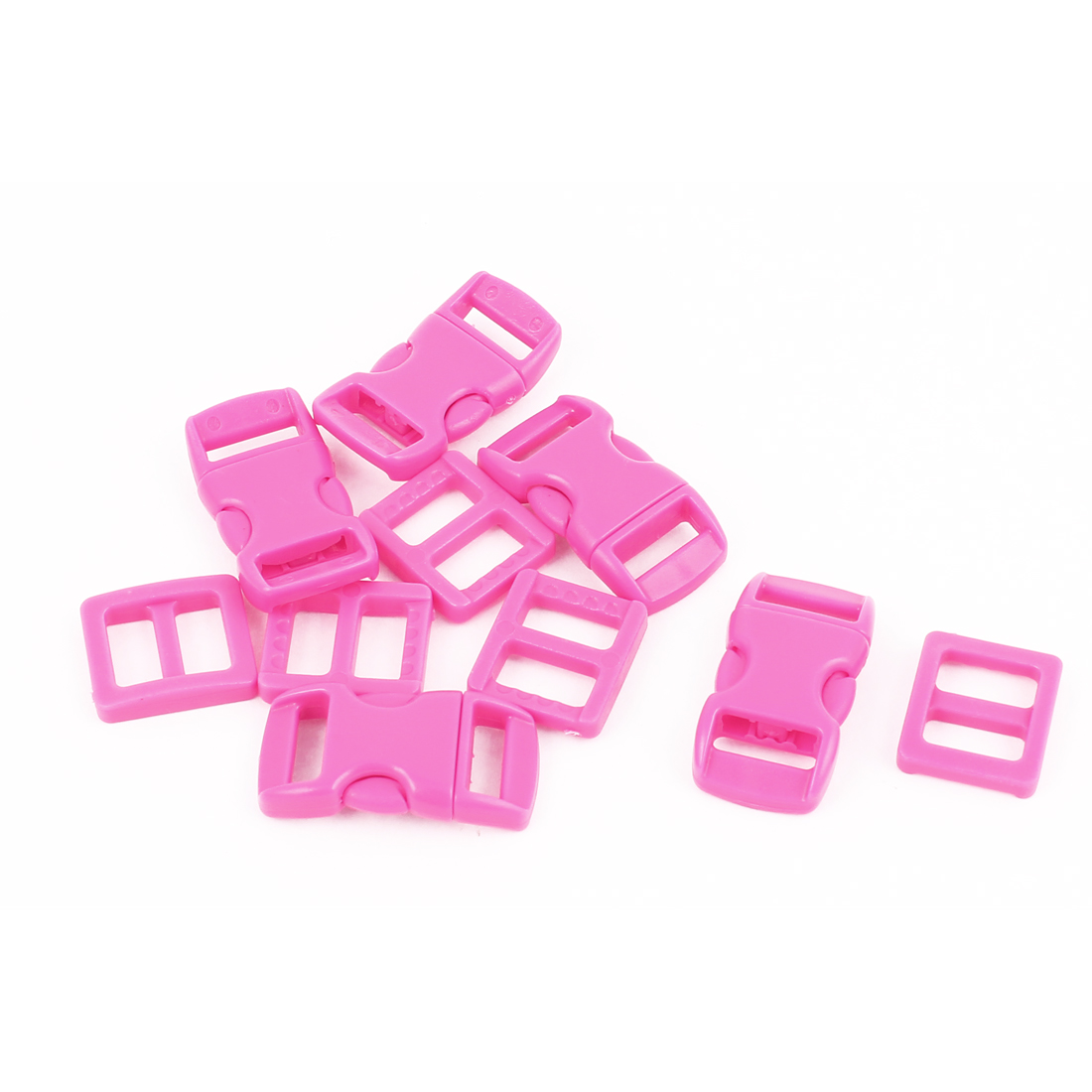 5pcs Fuchsia 10-11mm Webbing Band Plastic Curved Clasp Side Quick Release Buckles