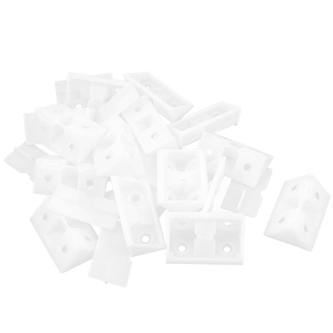 15pcs White Plastic Closet Cabinet 4 Holes Shelf Corner Brace Joint Brackets Support
