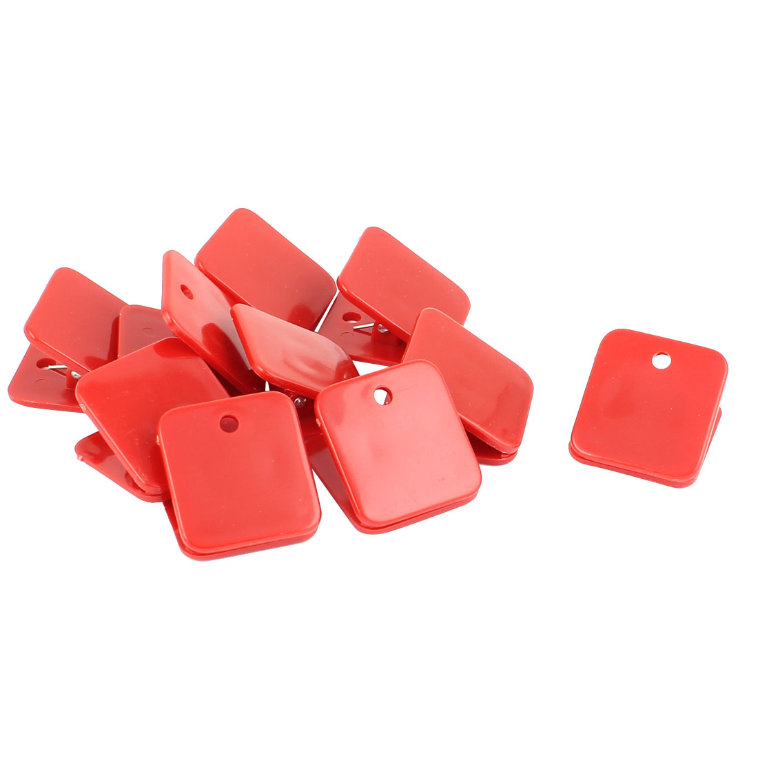 Red Plastic Square Spring Loaded Paper Document Memo Note Stationery Binder Clip 10pcs