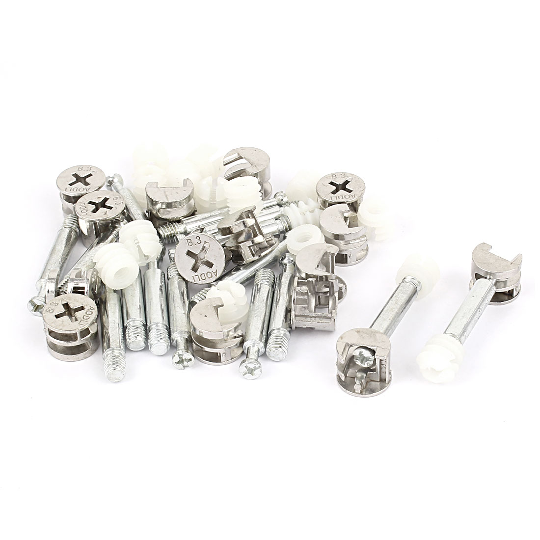 15 Sets Furniture Fixing Screw Side Cam Bolt Fitting Dowel Pre-inserted Nut Connector