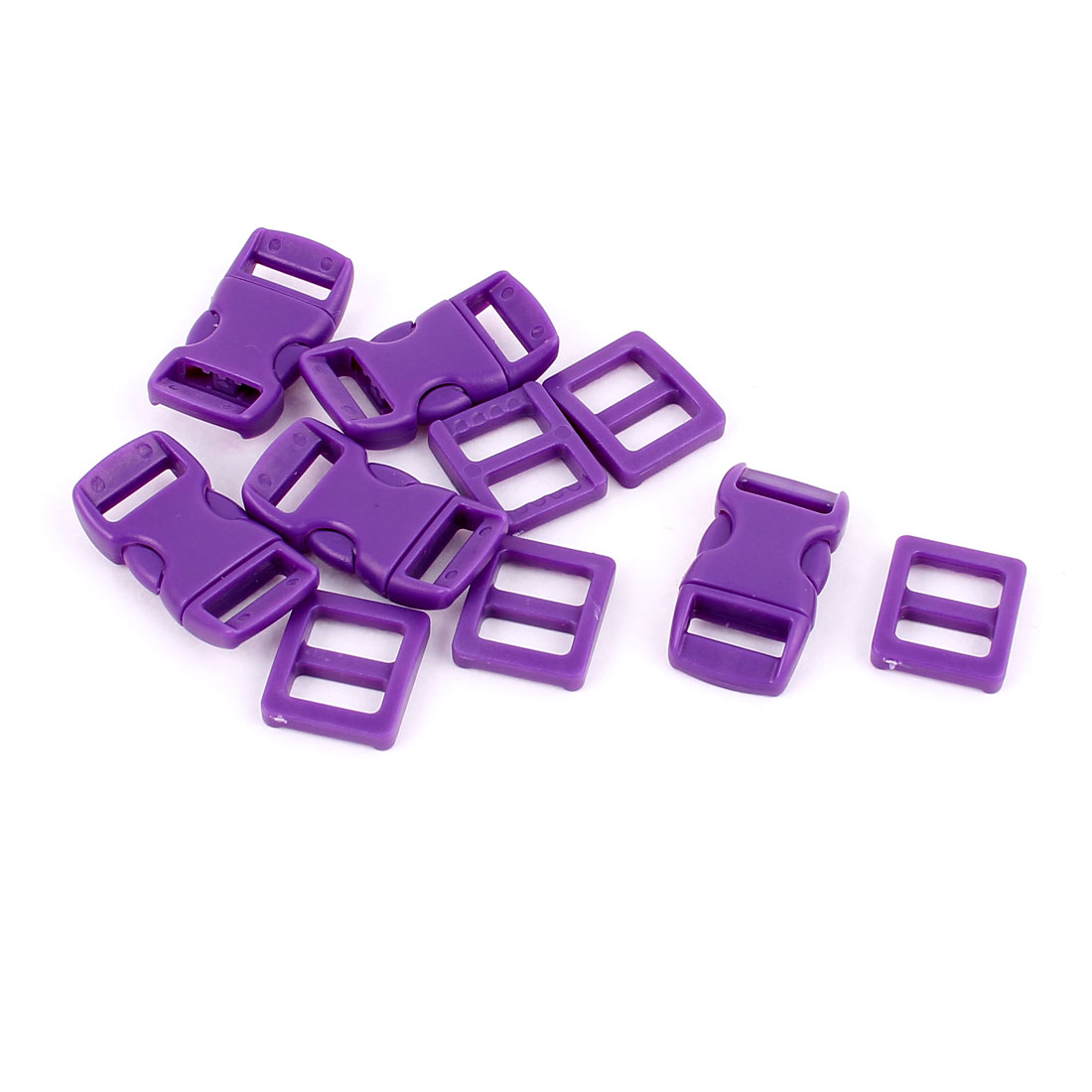 5pcs 10-11mm Webbing Strap Band Plastic Curved Clasp Side Quick Release Buckles Purple