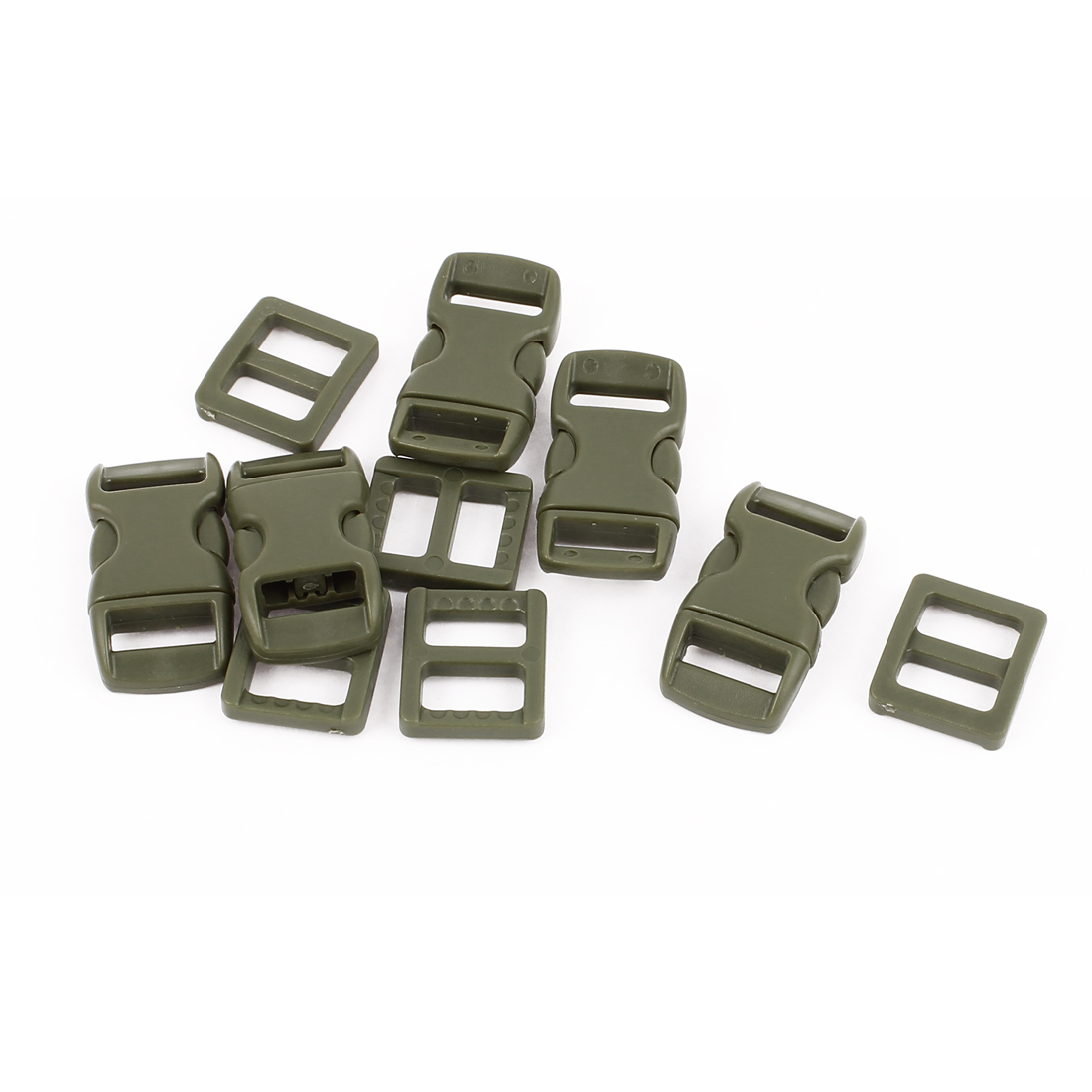 5pcs 10-11mm Strap Band Plastic Packbag Curved Clasp Side Quick Release Buckles Army Green