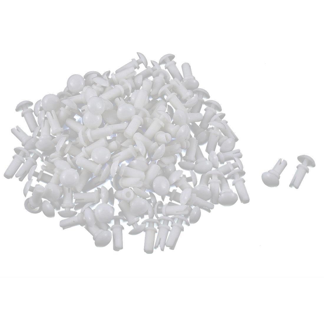 Nylon Push Clips Rivet Fastener White 100pcs