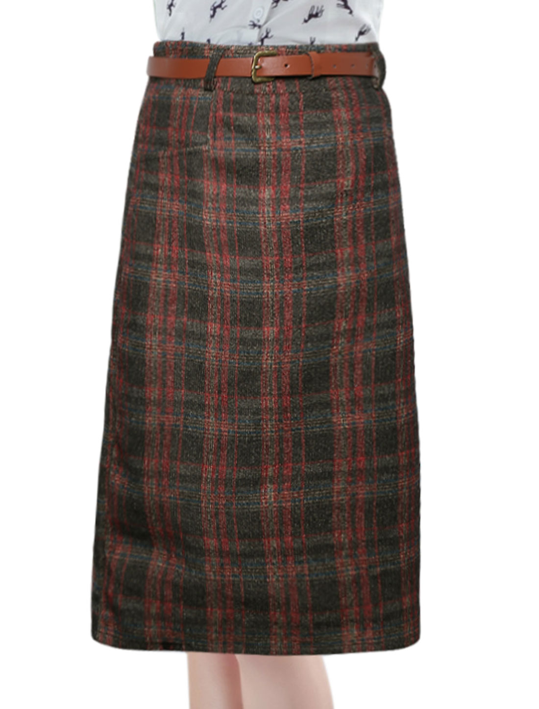 Women High Rise Waist String Plaids Worsted Skirt Gray M