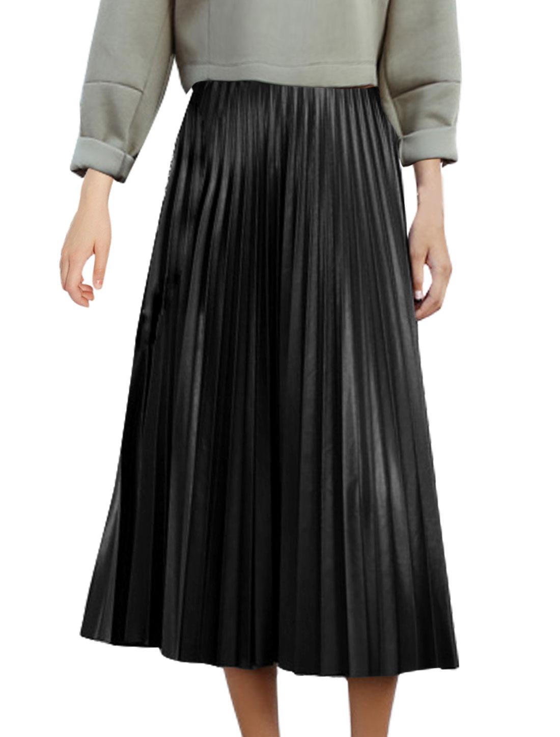 Women Vintage High Waist Pleated Mid-Calf PU Skirt Black M