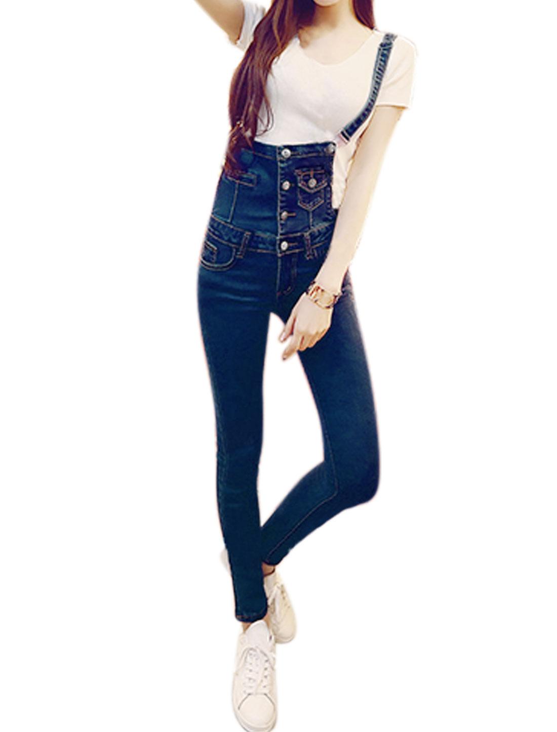Women Four-Button Front Slant Pockets Slim Fit Denim Overalls Blue XS