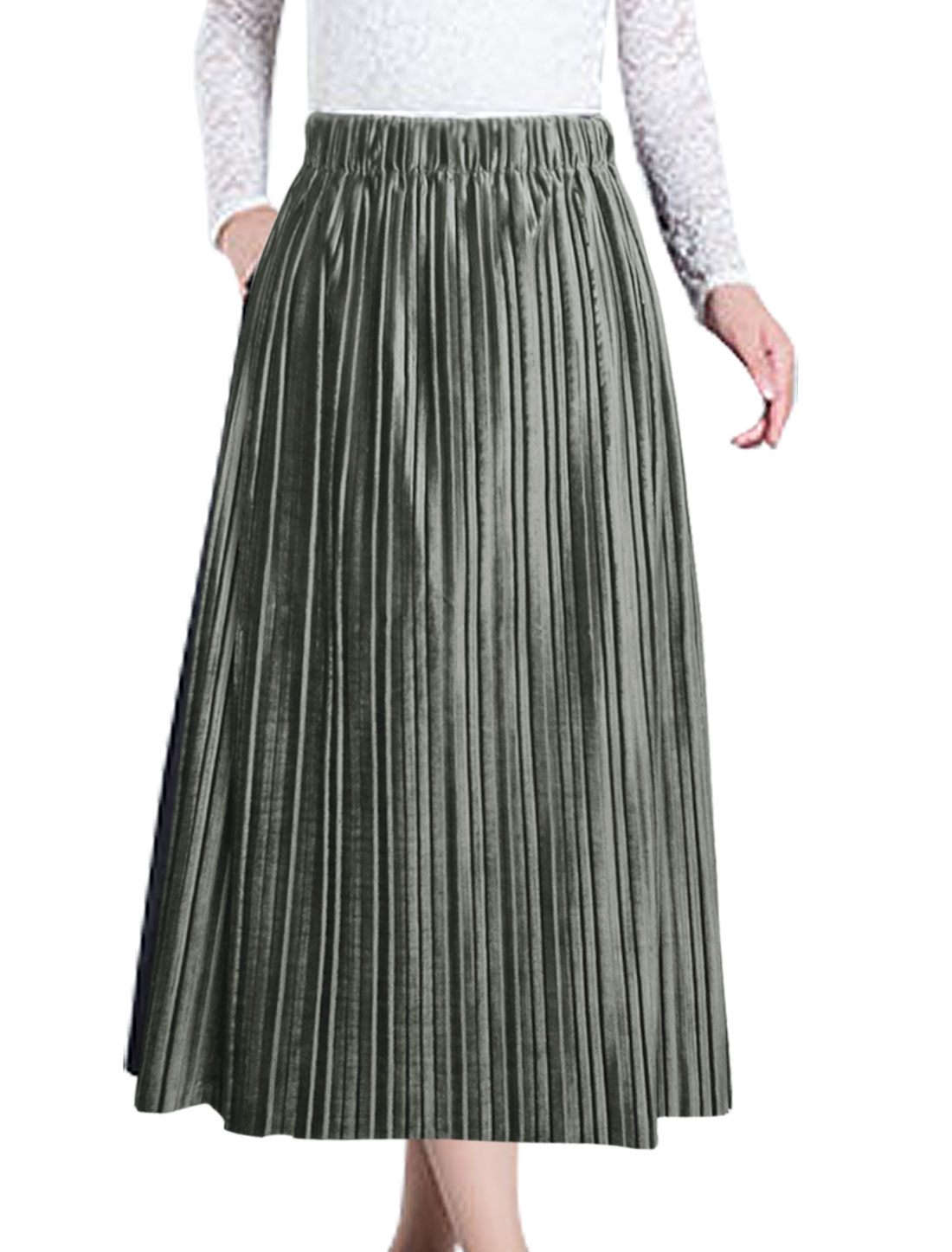 Ladies Unlined Elastic High Waist Pleated Mid-Calf Skirt Gray XS