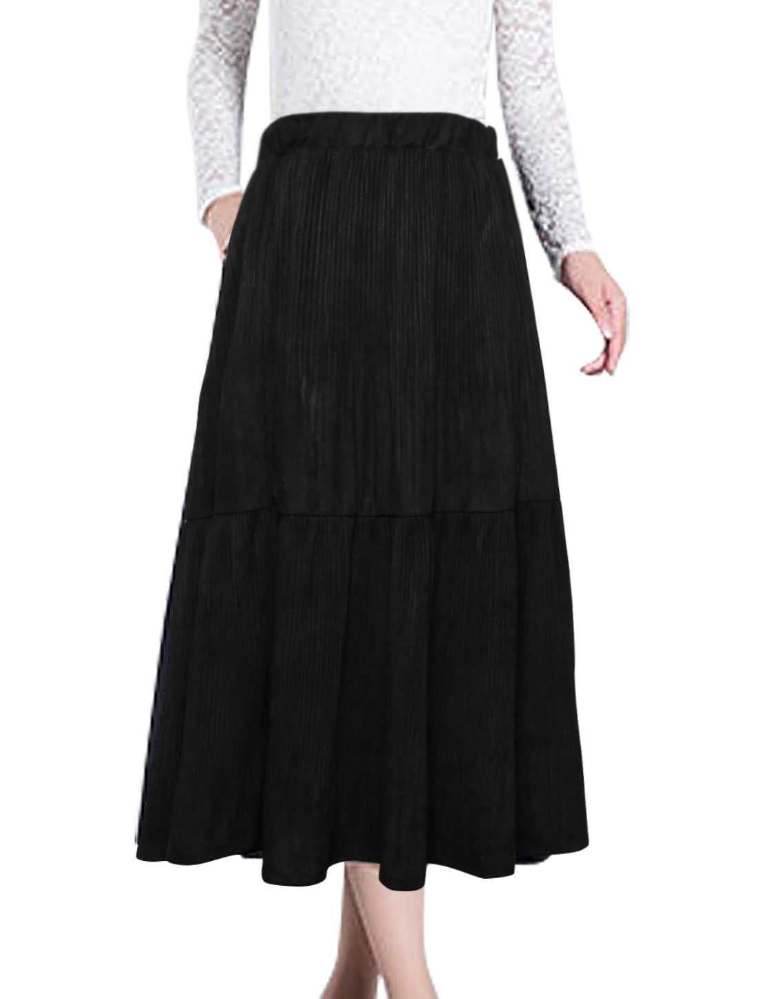 Women Elastic Waist Flare Mid-Calf Pleated Skirt Black XS