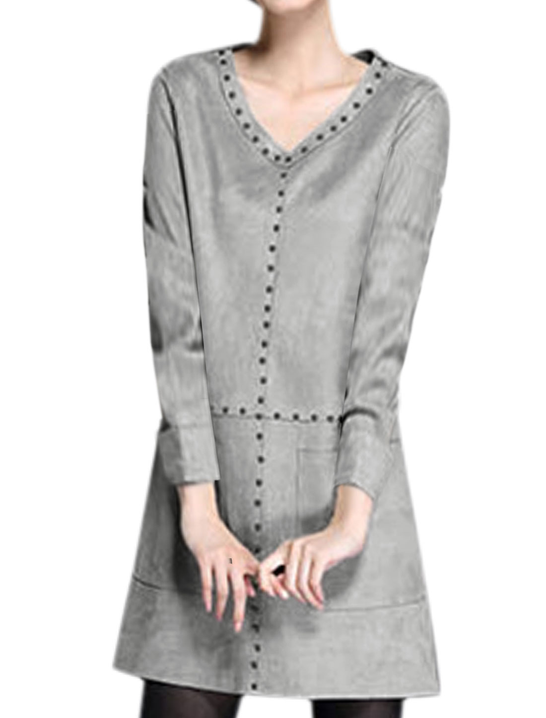Women V Neck Studs Decor Patch Pockets Tunic Dress Gray M