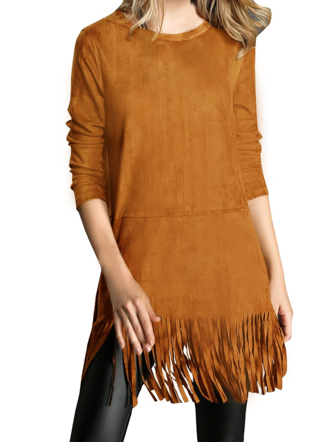 Women Crew Neck Long Sleeves Tassels Hem Loose Tunic Top Brown S