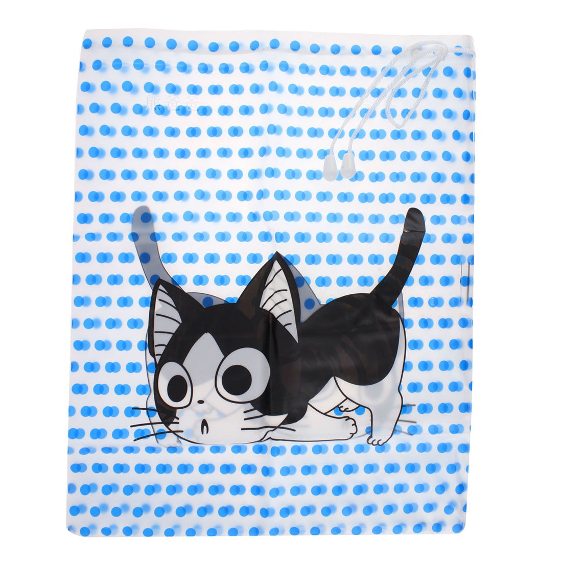 Travel Drawstring Closure Dots Cat Pattern Water Resistant Storage Bag Holder Container