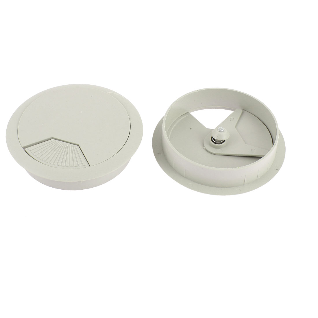 Plastic 80mm Round Computer Desk Wire Cable Hole Cover Grommet 2Pcs